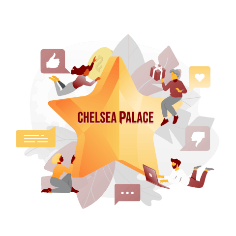 chelsea palace casino with a star and social media icons