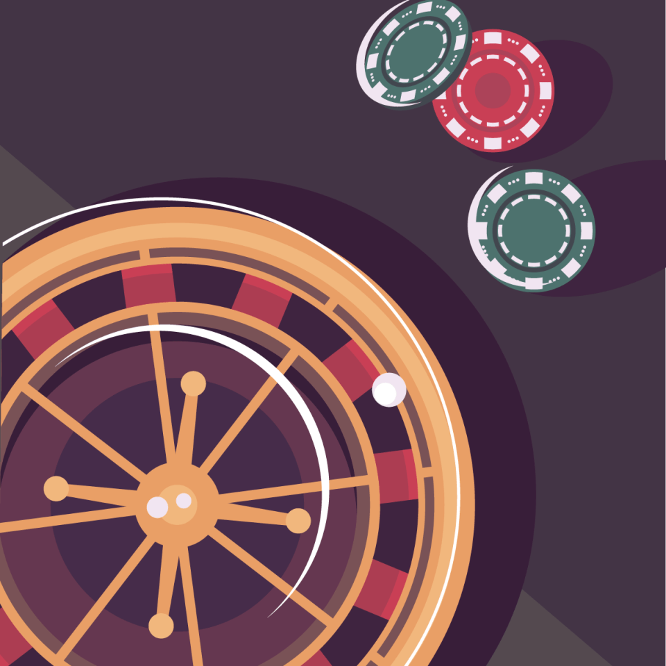 roulette wheel with casino chips