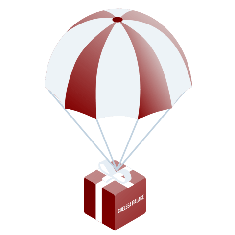 balloon with a package and chelsea palace logo